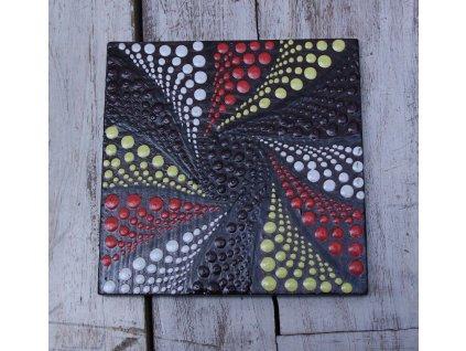 Dřevěný ručně malovaný podtácek 10x10cm model abstrakt A
