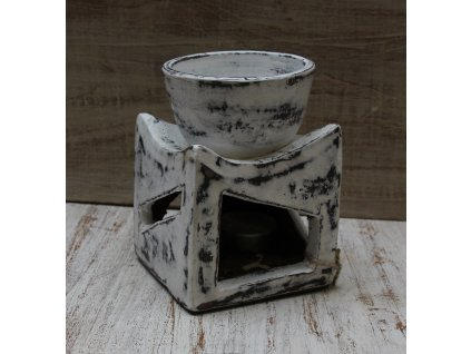 2v1 svícen + aroma lampa 13x9cm - bílá patina