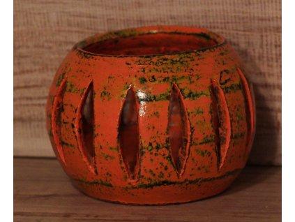 Stojánek - svícen na svíčky průměr 10cm oranžová patina