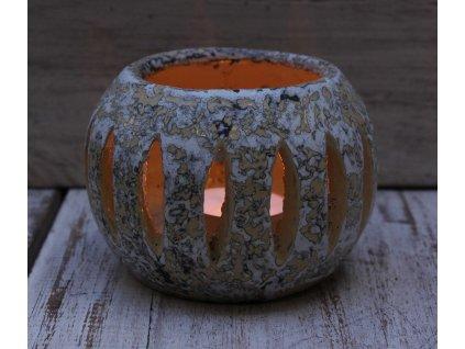Stojánek - svícen na svíčky průměr 10cm patina bílo-okrová