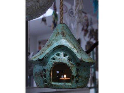 Domeček 2v1 na svíčku + krmítko pro ptáčky - zelený 23x20x20cm