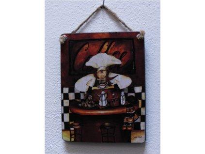Dřevěná retro cedule na zeď Coffee 13x10cm