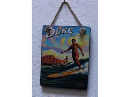 Dřevěná retro cedule na zeď Duke Kahanamoku 13x10cm