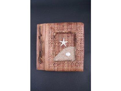 Ručně vyrobené fotoalbum s hvězdou a pískem 19x18 cm, kapacita 20ks na formát 15x10cm