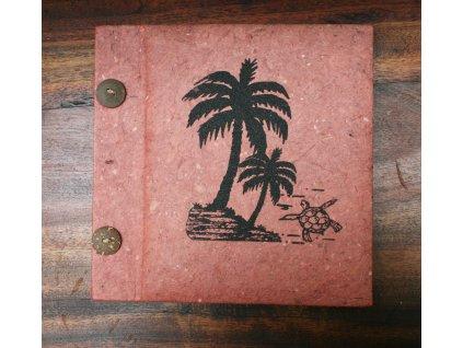 Ručně vyrobené fotoalbum s palmou 19x18cm, kapacita 20ks na formát 15x10cm