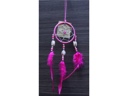 Lapač snů č.45 růžový, délka 30cm, průměr 6cm