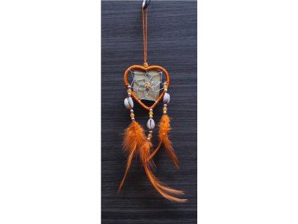 Lapač snů č.46 oranžový, délka 30cm 6x6cm