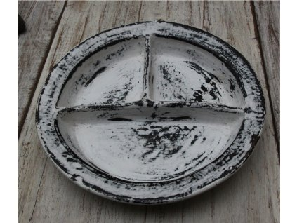 Servírovací mísa terakota  průměr 30cm bílá patina