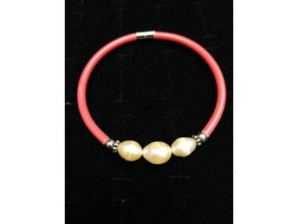 Náramek z pravých perel na magnet obvod cca 18cm červený