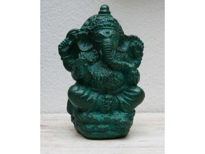 Socha Ganesha 13cm patina Greeny
