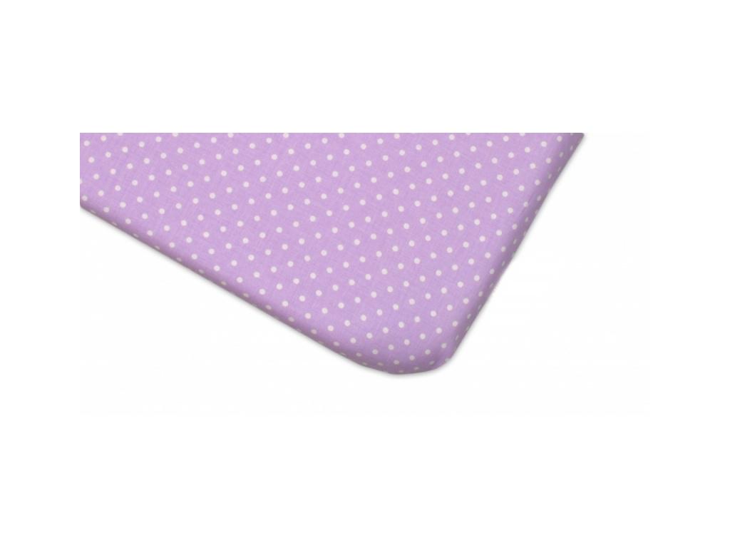 Mamo Tato Bavlněné prostěradlo 60x120cm - Tečky fialové - 120x60