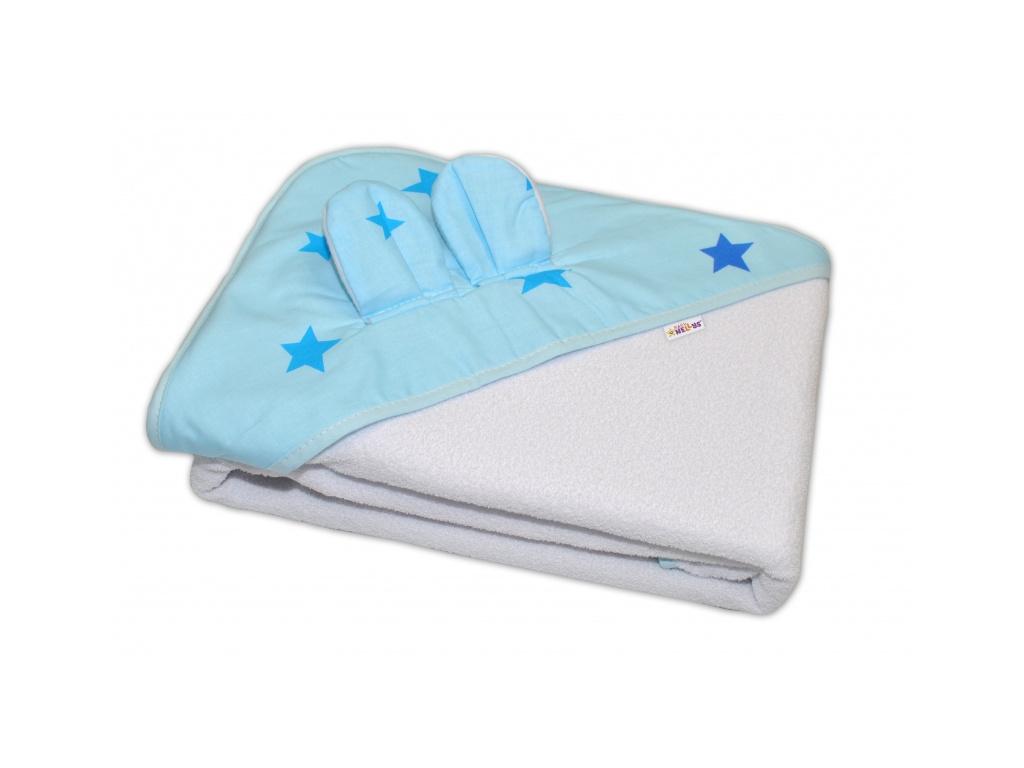 Baby Nellys Dětská termoosuška s oušky Baby Stars s kapucí, 100 x 100 cm - modrá/bílá