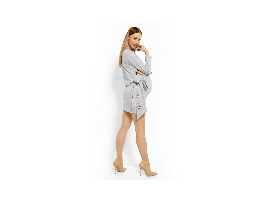 Be MaaMaa Elegantní těhotenské šaty, tunika s výšivkou a