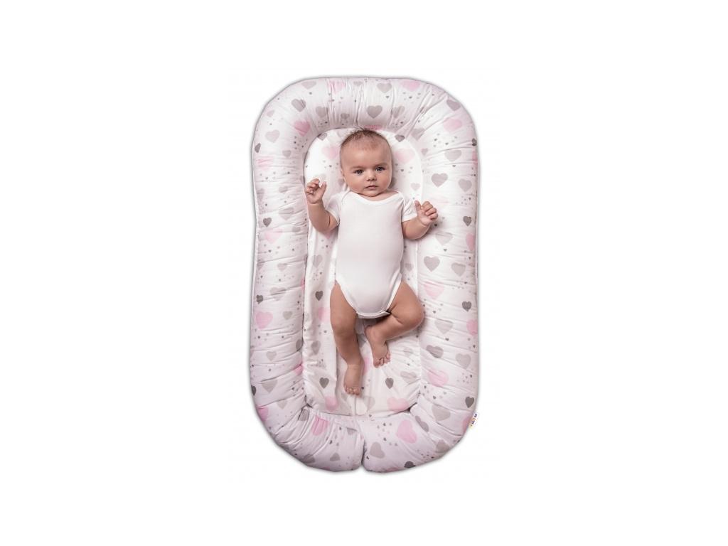 Baby Nellys Maxi oboustranné hnízdečko pro miminko Srdíčka a hvězdičky - růžový