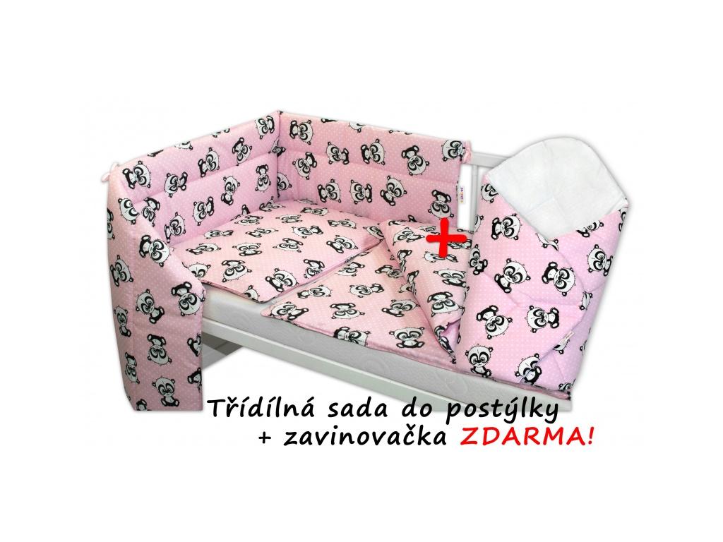 3-dílná sada mantinel s povlečením 135x100 + zavinovačka zdarma - Baby Panda, růžová - 135x100
