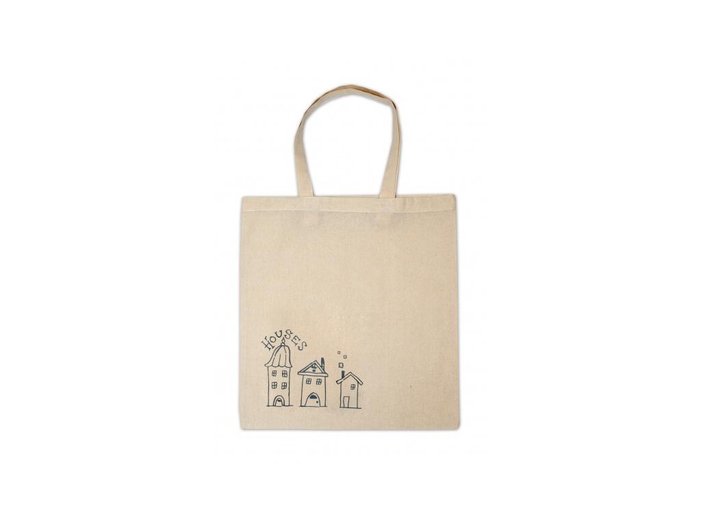 Bavlněná Eko taška k vybarvení, 37x40cm - Domečky
