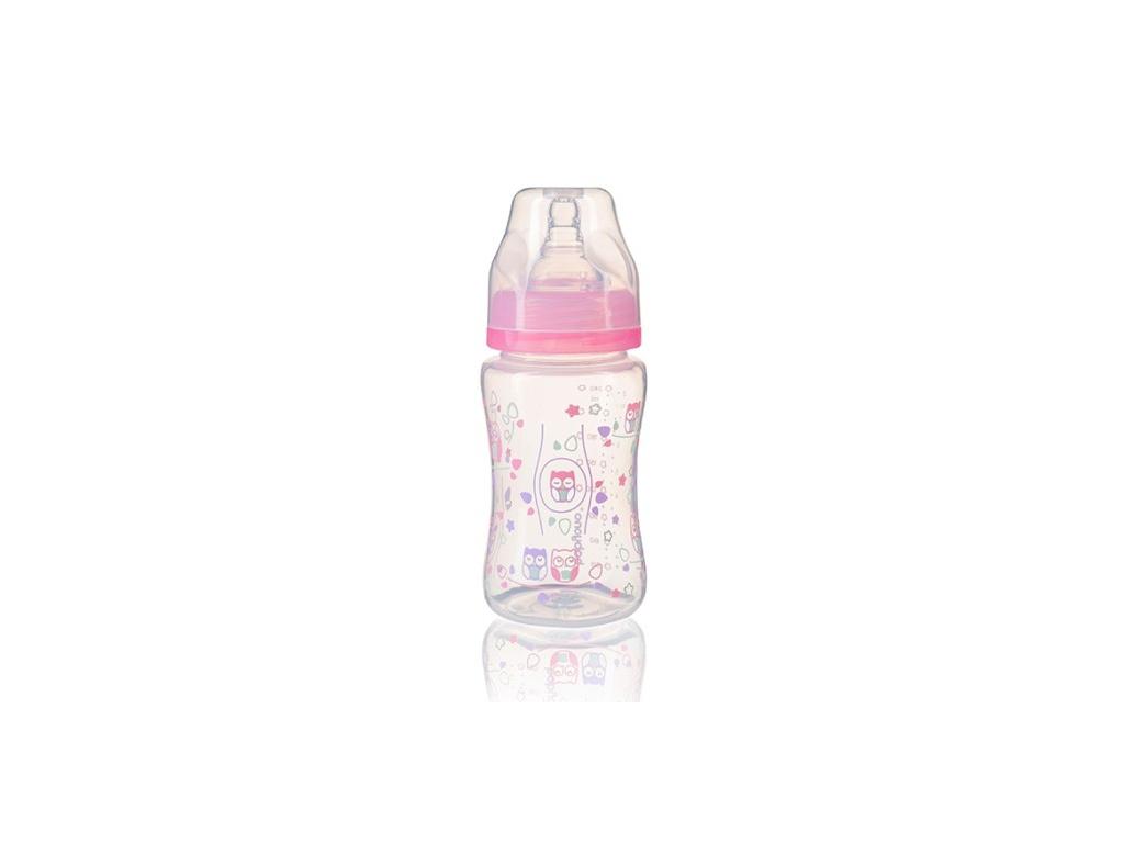 BabyOno Antikoliková lahev se širokým hrdlem, 240 ml - růžová