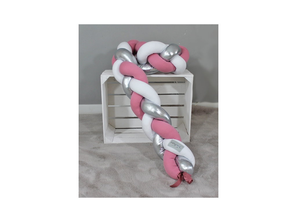 Mantinel Baby Nellys pletený cop - růžová, bílá, stříbrná