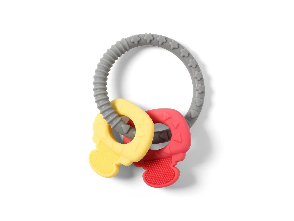 BabyOno Dětské kousátko ORTHO 486 - šedá, žlutá, červená