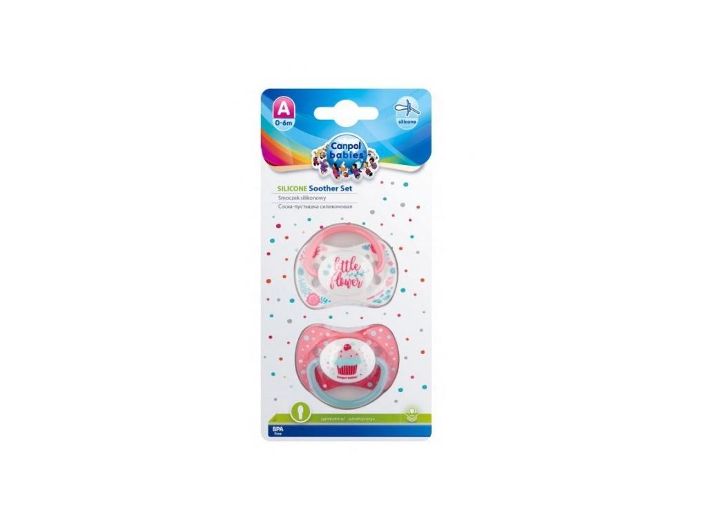 Sada 2 ks symetrických dudlíků, 18 m+, Canpol Babies - Little flower, Cupcake
