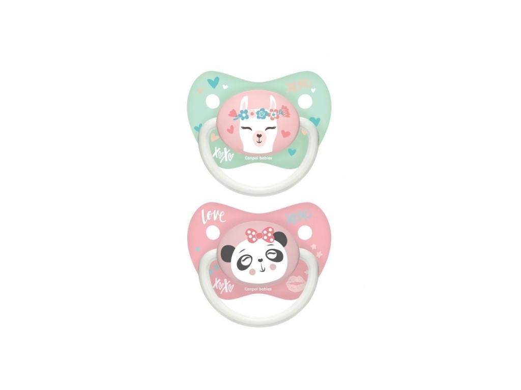 Sada 2 ks symetrických dudlíků, 18m+, Canpol Babies - Exotic Animals - růžový
