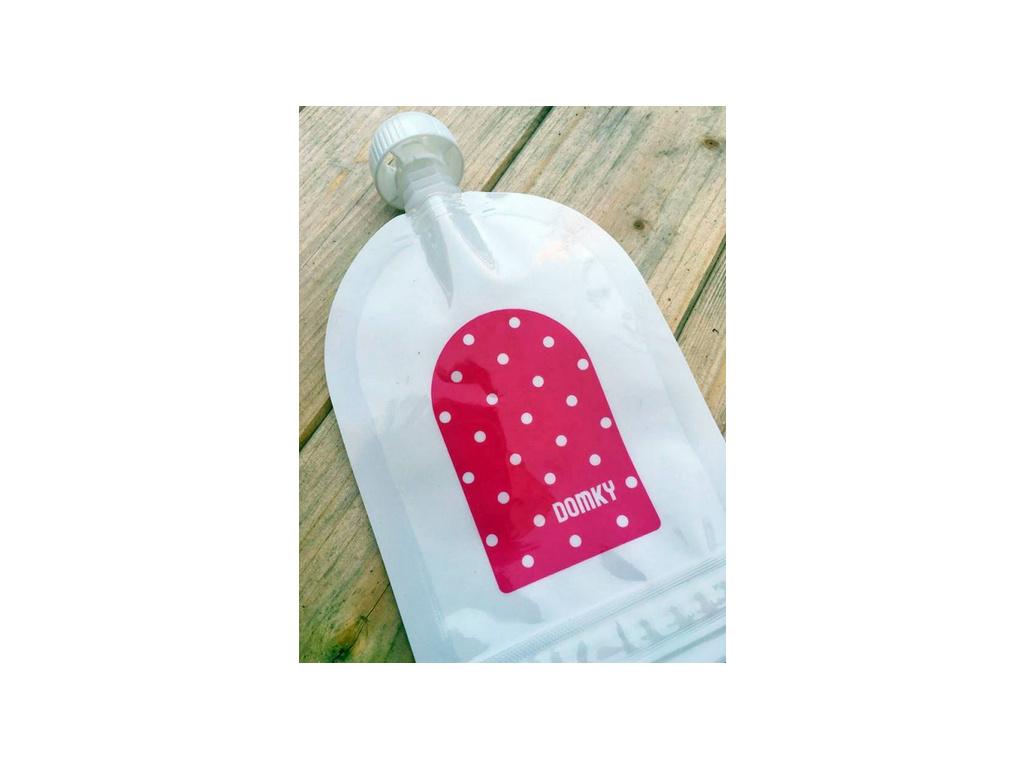 Domky Klasická plnitelná kapsička, 140 ml - puntíky v růžové - 1 ks