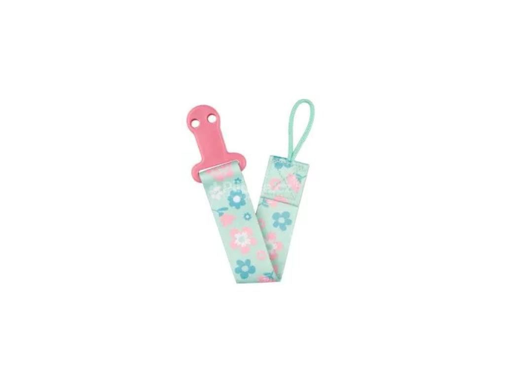 Řetízek na dudlík Canpol Babies - růžová/tyrkys - květinky