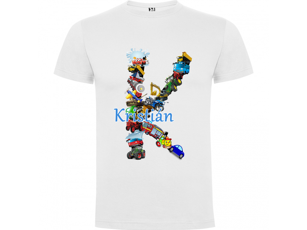 Dětské tričko - Jméno s dopravními prostředky
