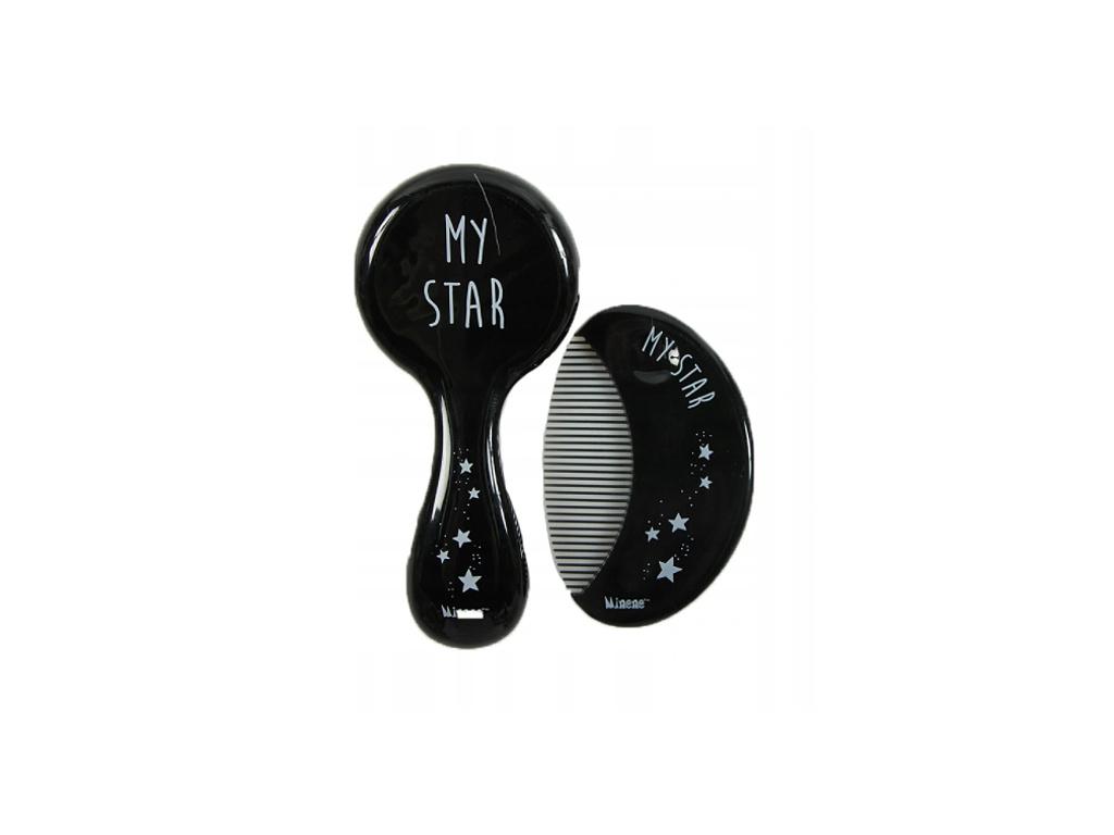 Minene Hřebínek s kartáčem na vlasy My Star - černý