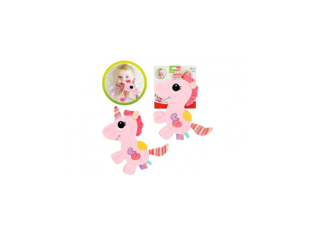 Jednorožec 35cm plyš šustící dečka růžová na kartě 0m+