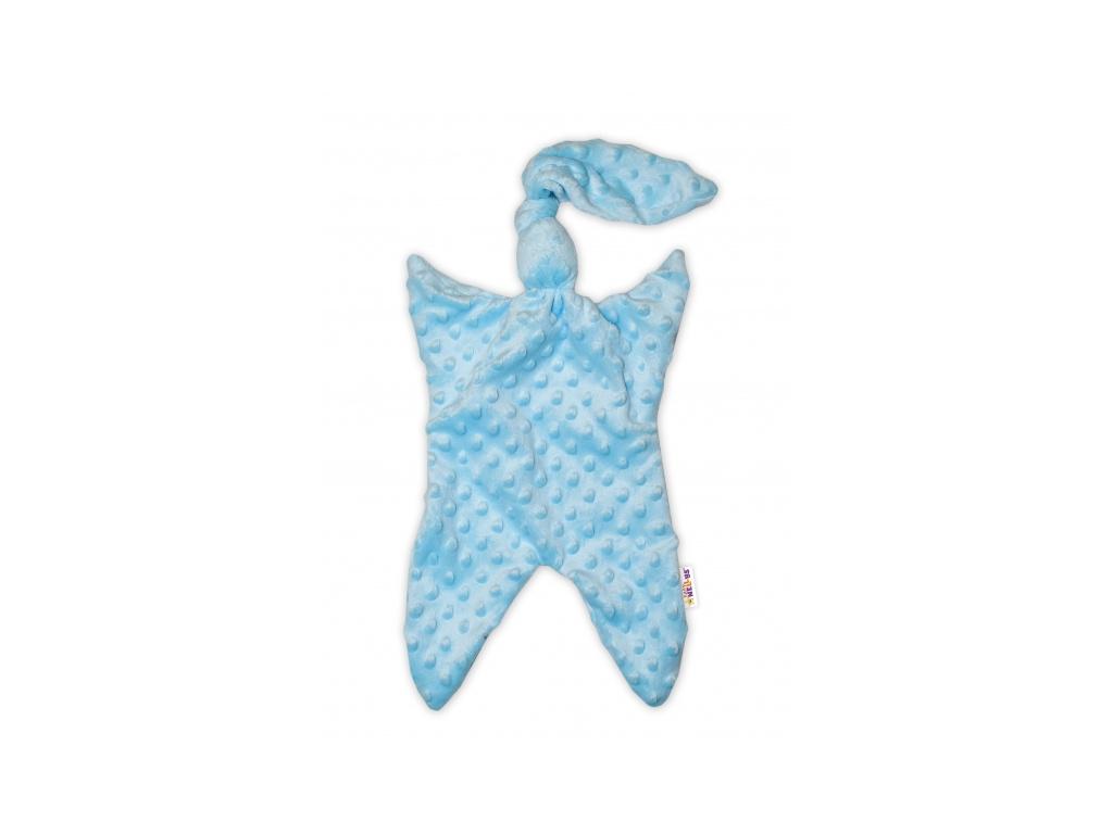 Baby Nellys Mazlík, přítulníček minky Uzlík, 43x25 cm - modrý