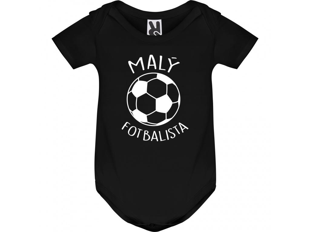 Dětské body černé - Malý fotbalista (Rukáv Dlouhý rukáv, Velikost 9-12 měsíců)