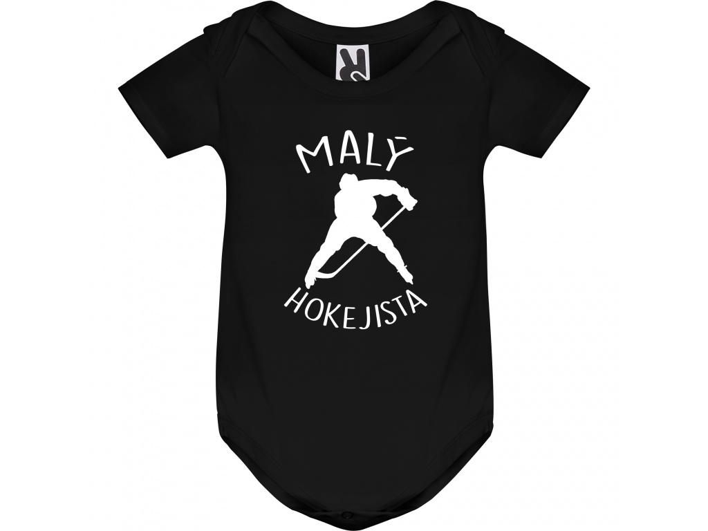 Dětské body černé - Malý hokejista (Rukáv Dlouhý rukáv, Velikost 9-12 měsíců)