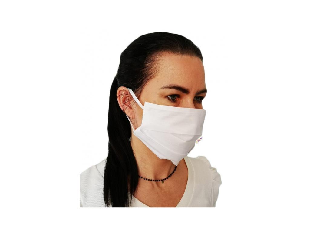 Bavlněná rouška, dvouvrstvá s kapsou na filtr na gumičku - bílé