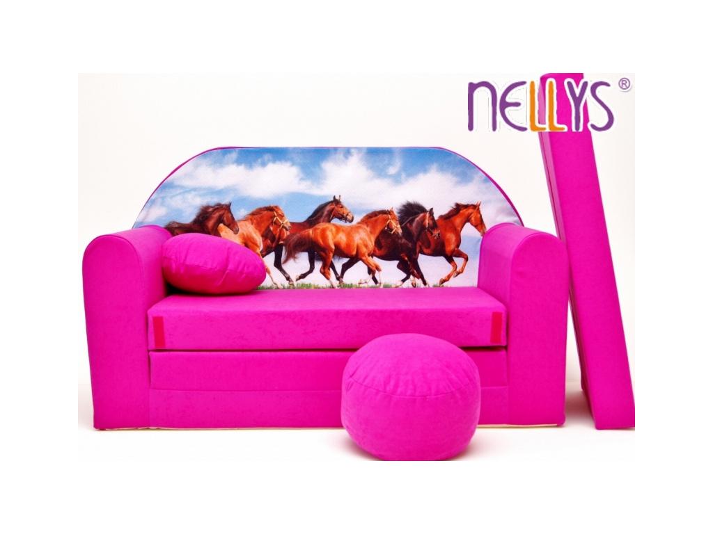 NELLYS Rozkládací dětská pohovka 58R - Koně v růžové