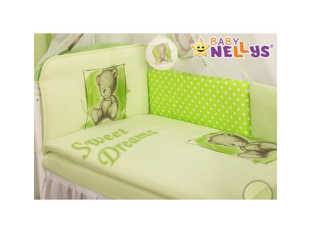 Baby Nellys Mantinel 360cm s povlečením Sweet Dreams by Teddy - zelený - 120x90