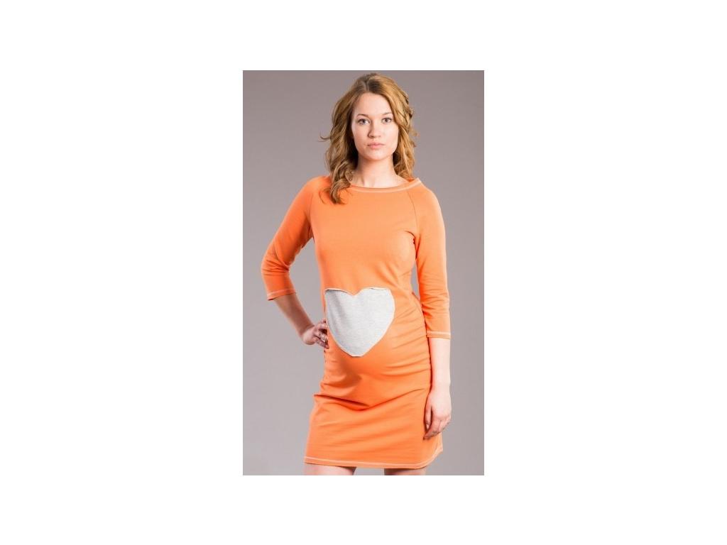Be MaaMaa Těhotenské šaty, tunika SRDCE - oranž, pomeranč - XL/XXXL