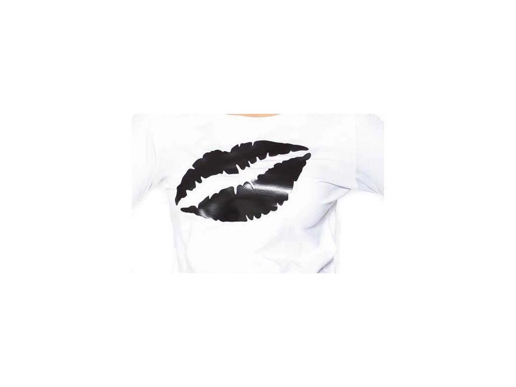 Be MaaMaa Těhotenské triko dlouhý rukáv Kiss - bílé