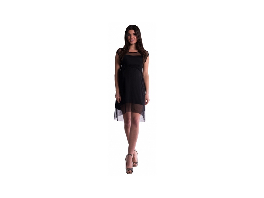Be MaaMaa Těhotenské šaty se šifonovým přehozem - černé