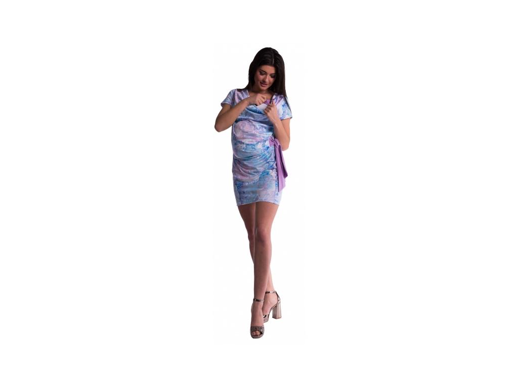 Be MaaMaa Těhotenské a kojící šaty s květinovým potiskem, s mašlí - červené/bordó
