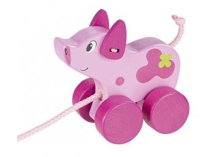 Goki Edukační dřevěná hračka 10 cm tahací - Prasátko