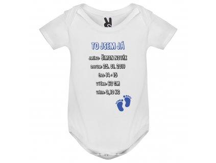 Dětské body - To jsem já modré (Rukáv Dlouhý rukáv, Velikost 9-12 měsíců)