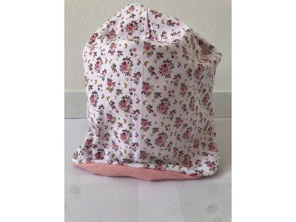 Dětská oboustranná homeless čepice s jménem - Růžové kvítky s baby pink