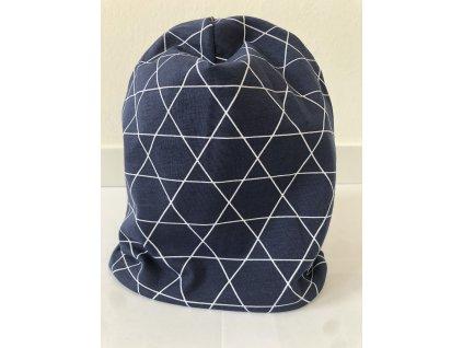 Dětská oboustranná homeless čepice s jménem - Trojúhelníky s pestrou modrou