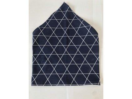 Letní dětský šátek - Trojúhelníky na modré