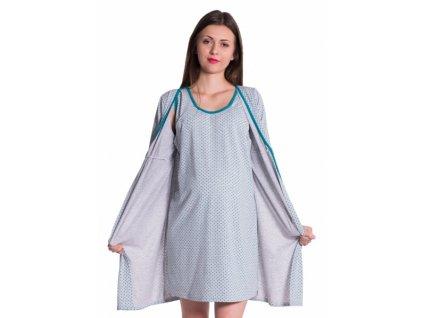 Be MaaMaa Těhotenská, kojící noční košile + župan - tečky