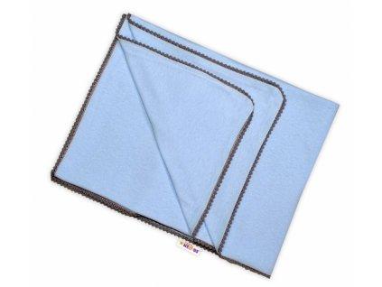 Baby Nellys Letní deka s mini bambulkami, jersey, 100 x 75 cm - sv. modrá/šedý lem