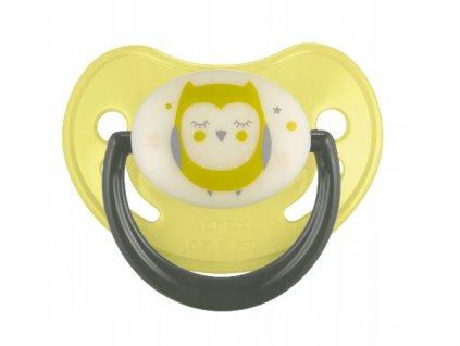 Canpol babies Dudlík silikonový anatomický, svítící 18 m+ C - žlutý