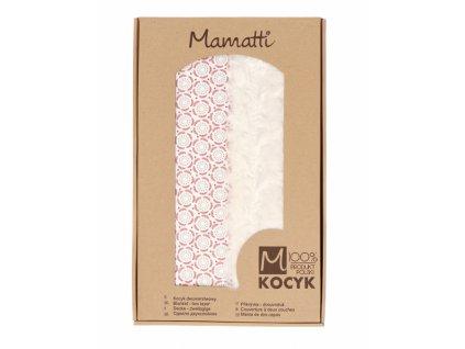Mamatti Dětská oboustranná bavlněná deka s minky, Rozeta - 75 x 90 cm, růžová-ecru
