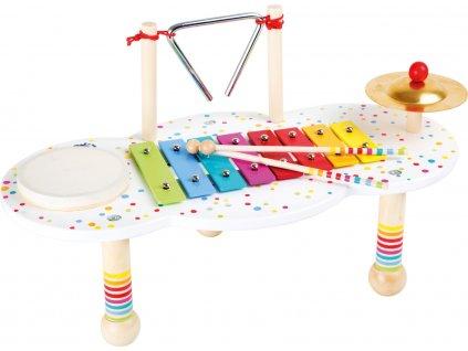 Small Foot Dřevěný muzikální hudební stoleček s puntíky